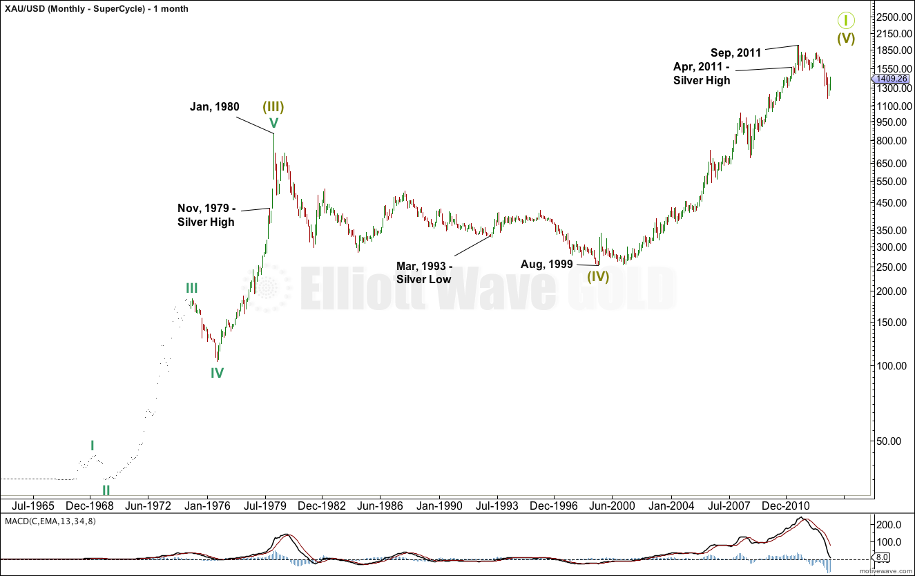Gold Elliott Wave Chart Monthly - Super Cycle 2013