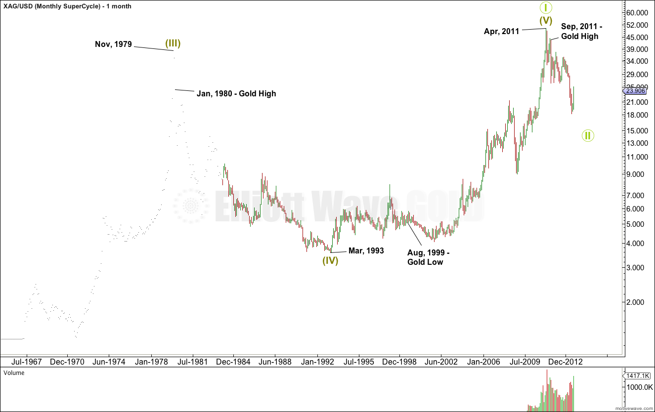 Silver Elliott Wave Chart Monthly - Super Cycle 2013