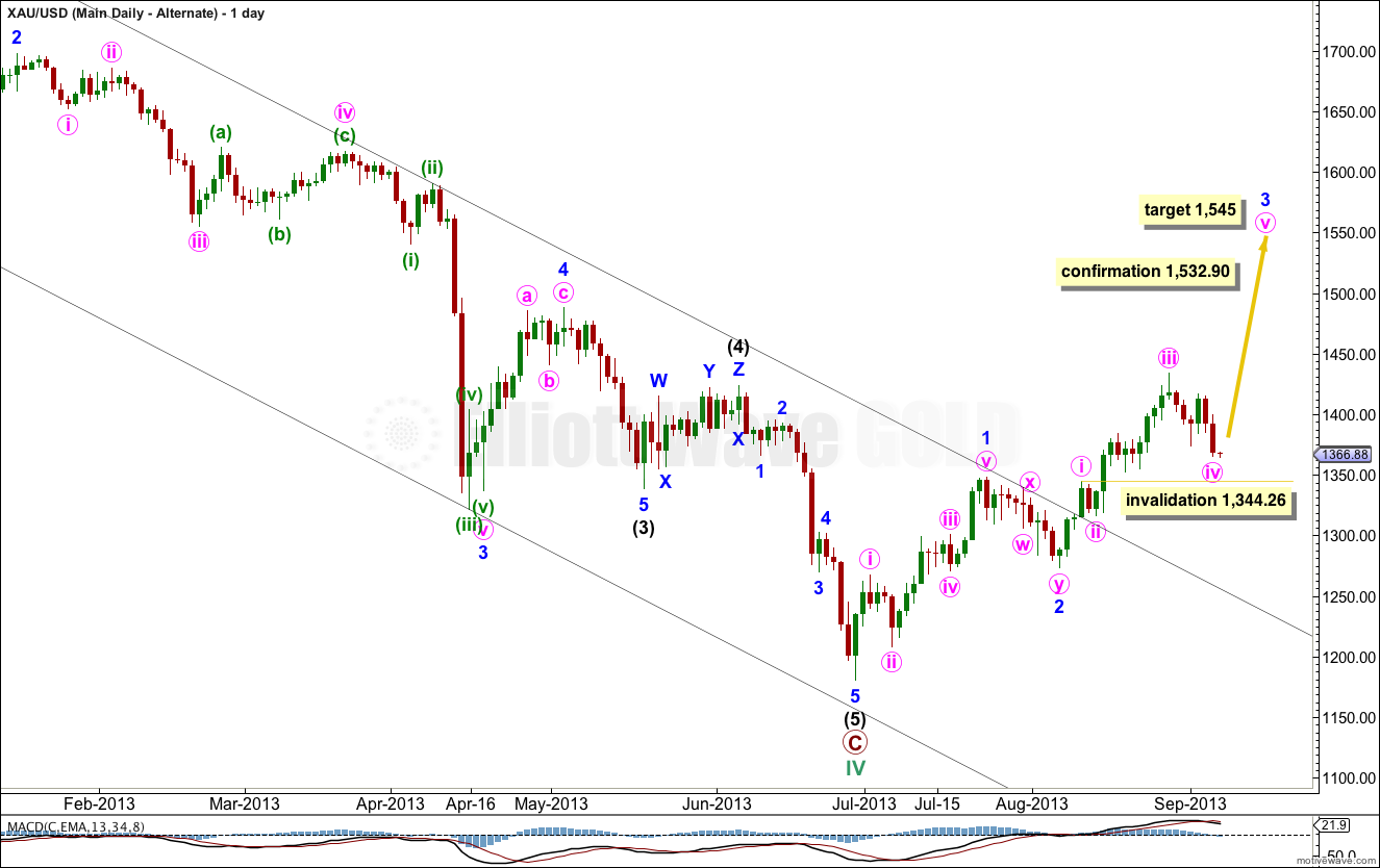 GOLD Elliott Wave Chart DailyII 2013
