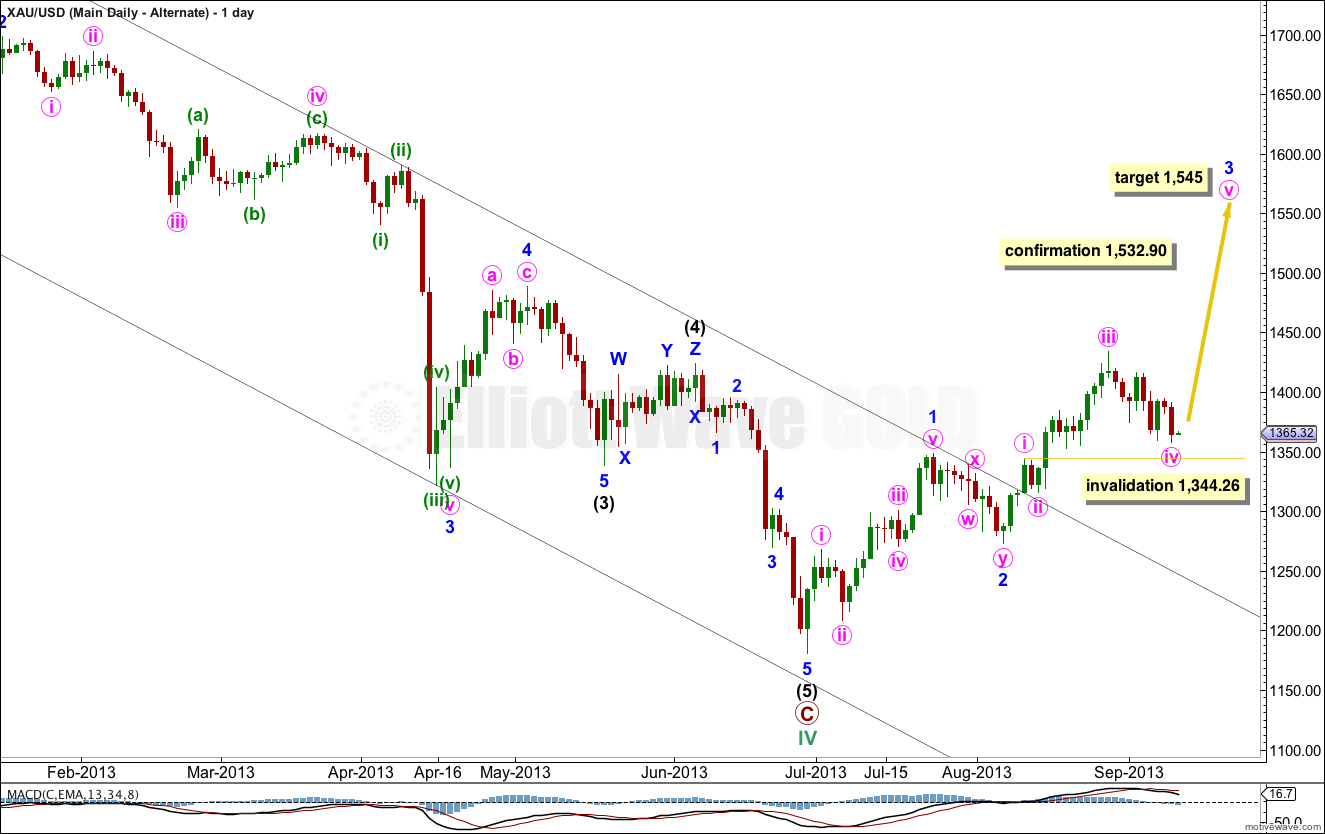 Gold Elliott Wave Chart Daily II 2013