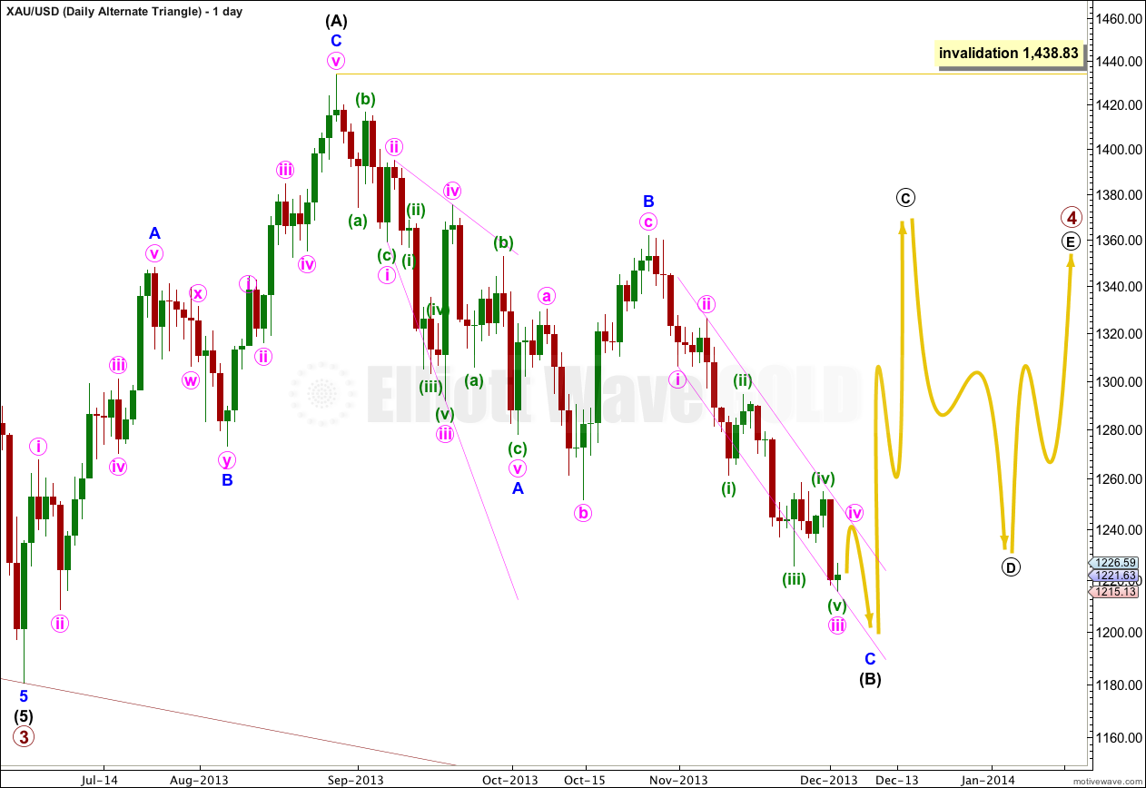 GOLD Elliott Wave Chart Daily Triangle 2013
