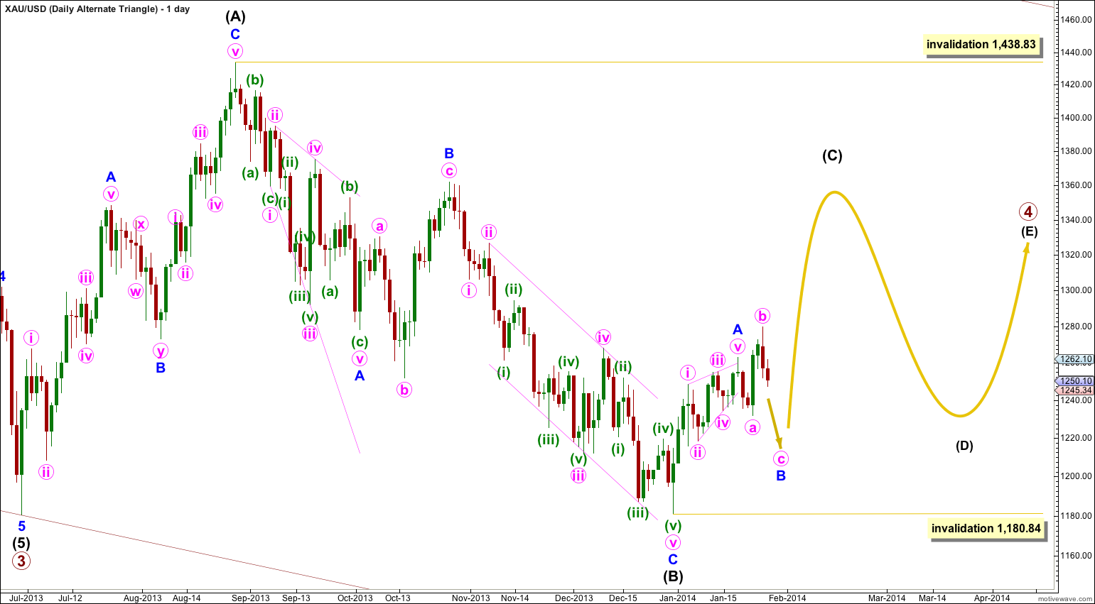 Gold Elliott Wave Chart Daily Alternate 2013