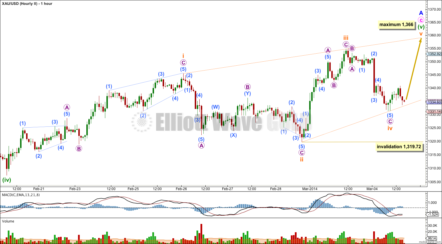 GOLD Elliott Wave Chart Hourly II 2013