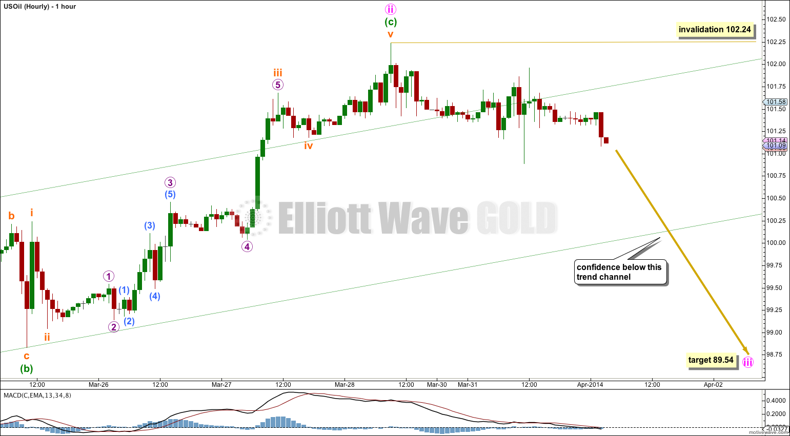 US Oil Elliott Wave Chart Hourly 2014