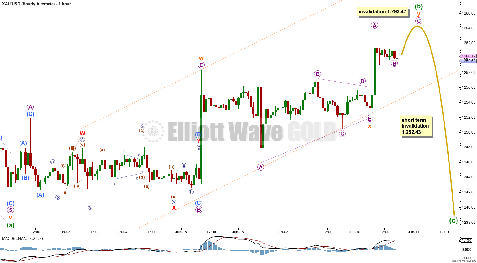 Gold Elliott Wave Chart Hourly Alternate 2014