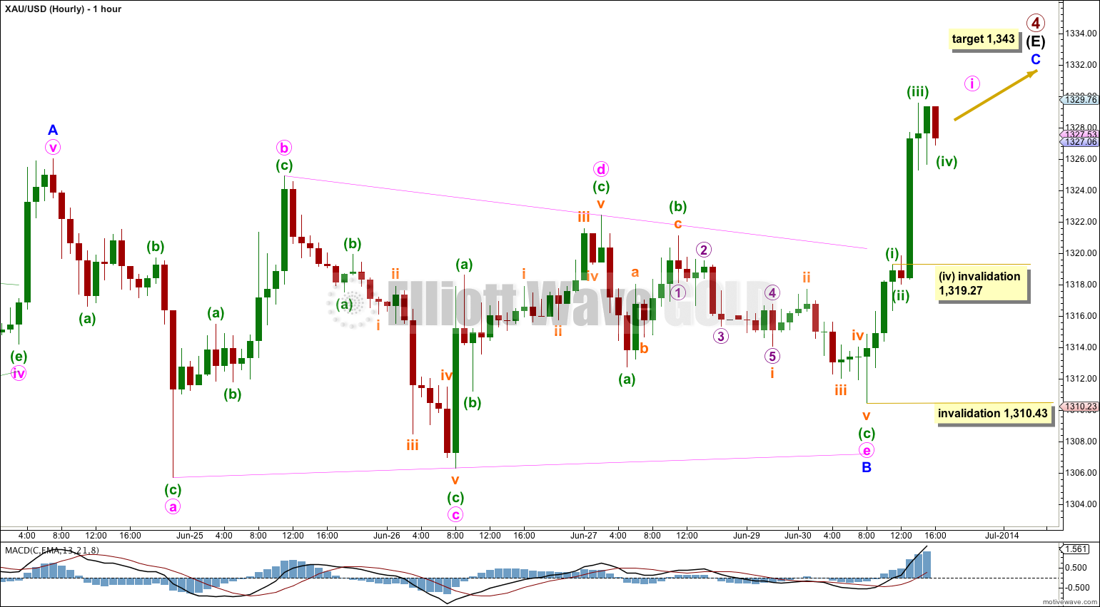GOLD Elliott Wave Chart Hourly 2014