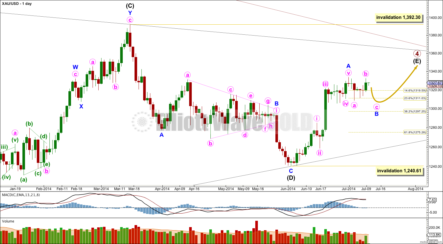 Gold Elliott Wave Chart Daily 2014