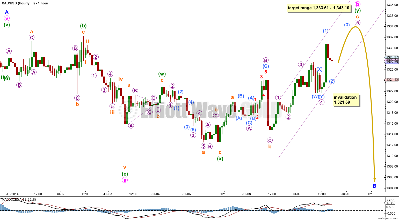 GOLD Elliott Wave Chart Hourly III 2014