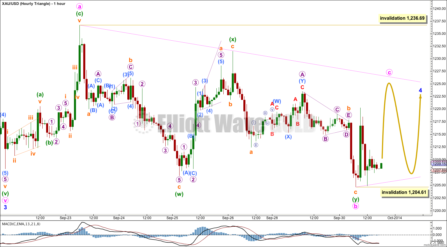 GOLD Elliott Wave Chart Hourly Triangle 2014