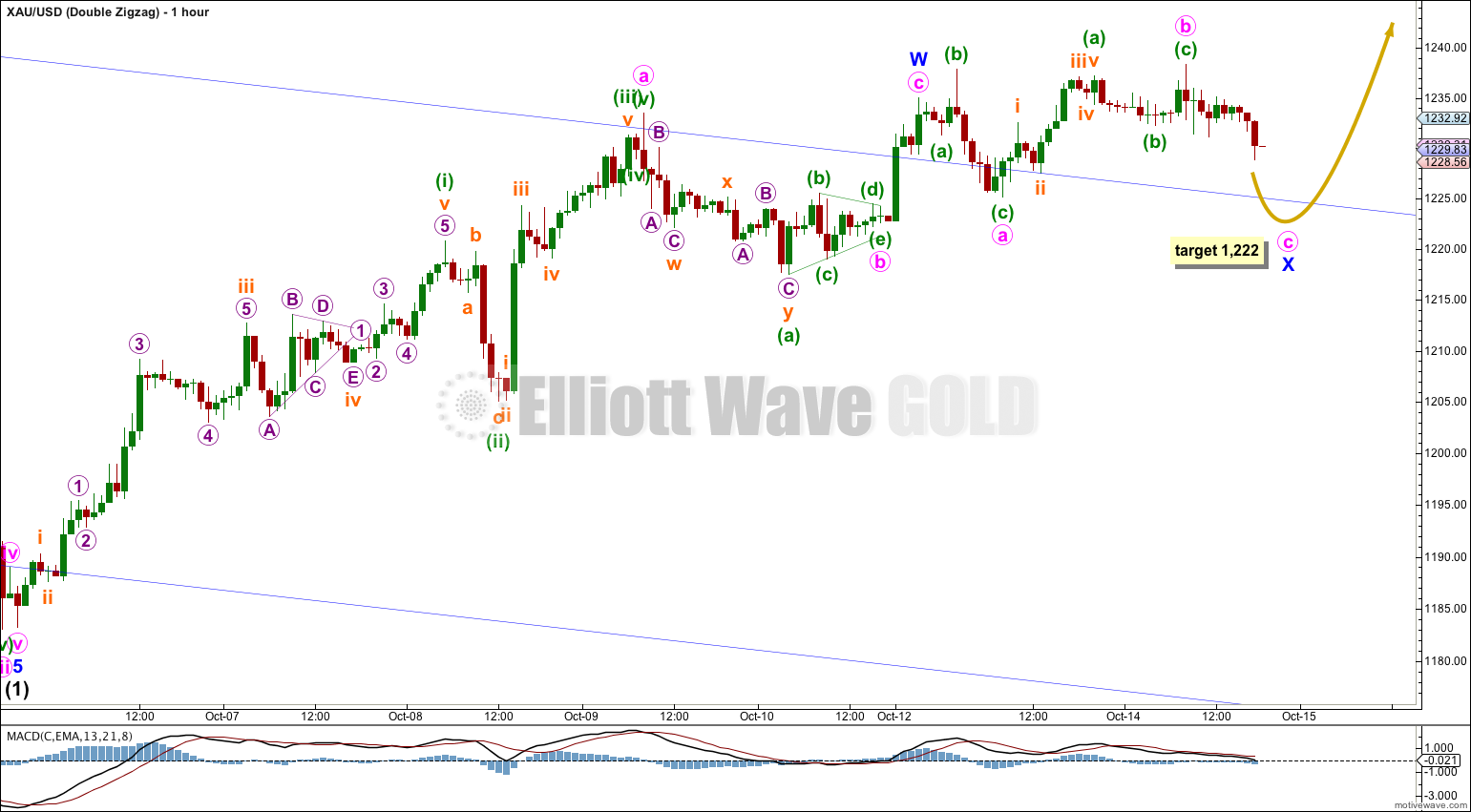GOLD Elliott Wave Chart Double Zigzag 2014