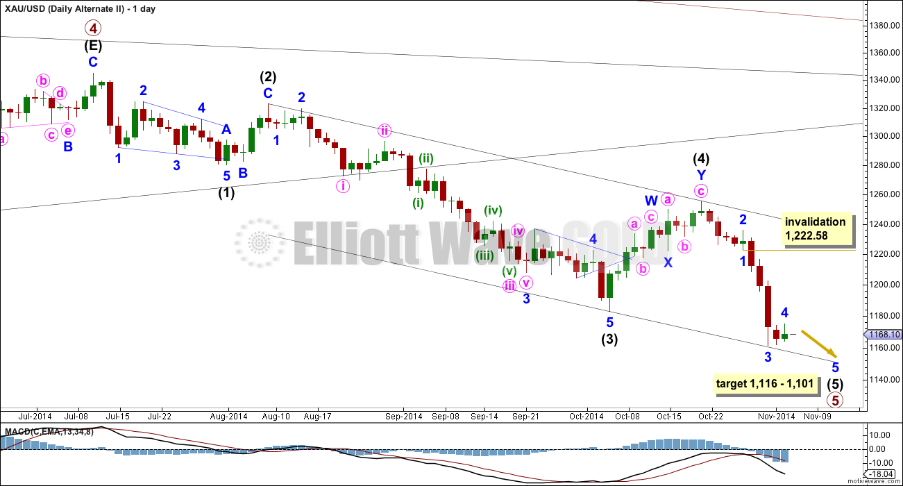 Gold Elliott Wave Chart Daily Alternate II 2014