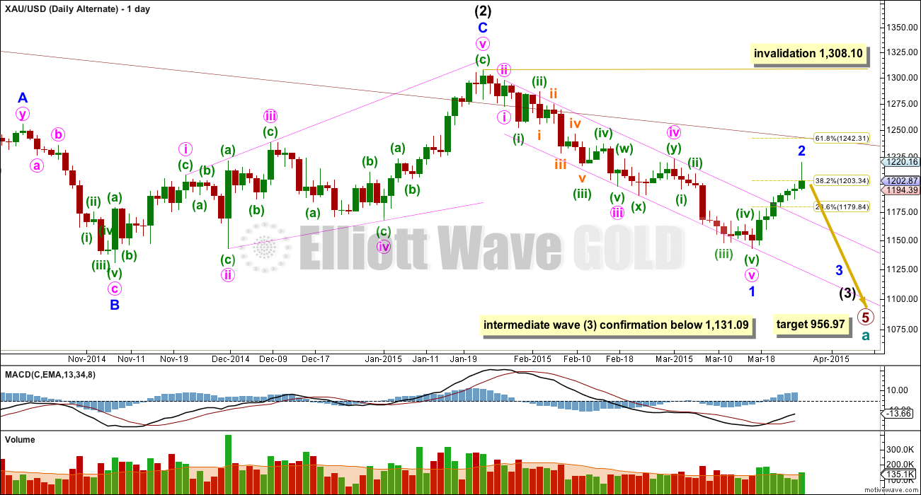 Gold Elliott Wave Chart Daily Alternate 2015