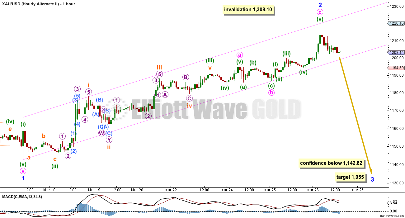 Gold Elliott Wave Chart hourly Alternate 2015