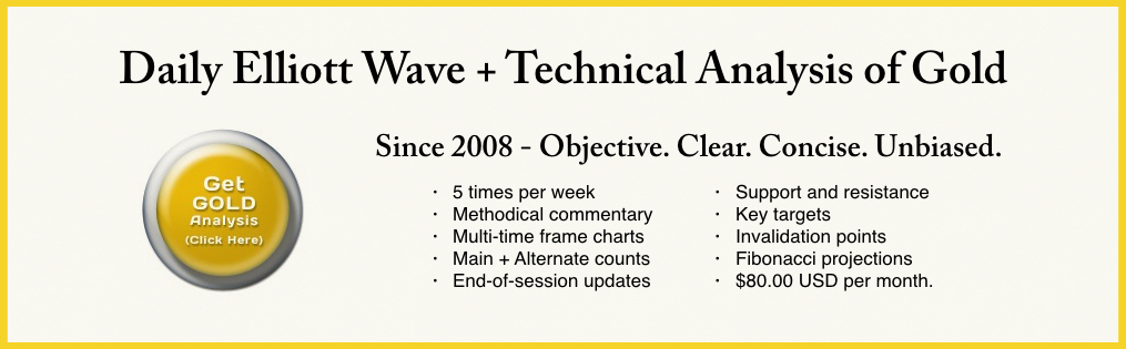 Daily Elliott Wave + Technical Analysis of Gold