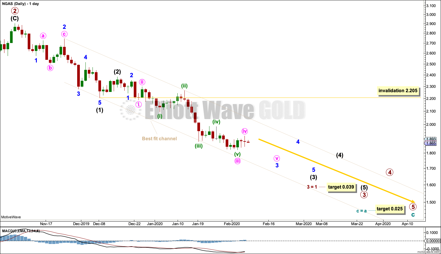 Natural Gas Elliott Wave Chart Daily 2020
