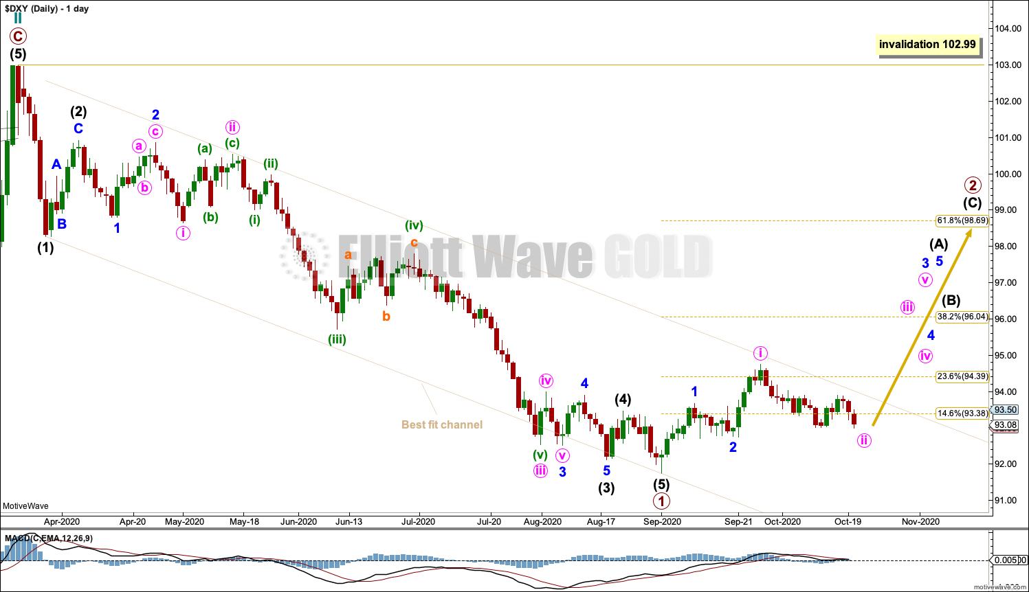 US Dollar Elliott Wave Chart Daily 2020